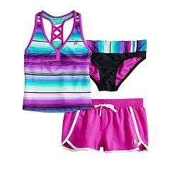 Girls 7-16 ZeroXposur Sunrise Tankini Top & Bottoms & Shorts Swimsuit Set