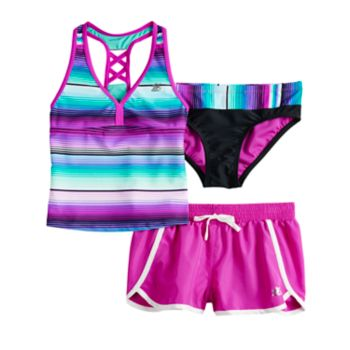 Girls 7-16 ZeroXposur Sunrise Tankini Top & Bottoms & Shorts Swimsuit Set
