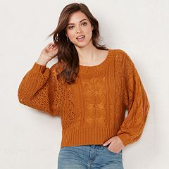 Women's LC Lauren Conrad Cable-Knit Crop Sweater