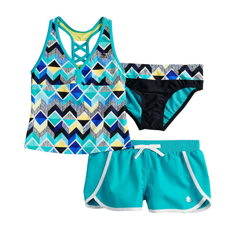 Girls 7-16 ZeroXposur Beatbox Bop Tankini Top & Bottoms & Shorts Swimsuit Set