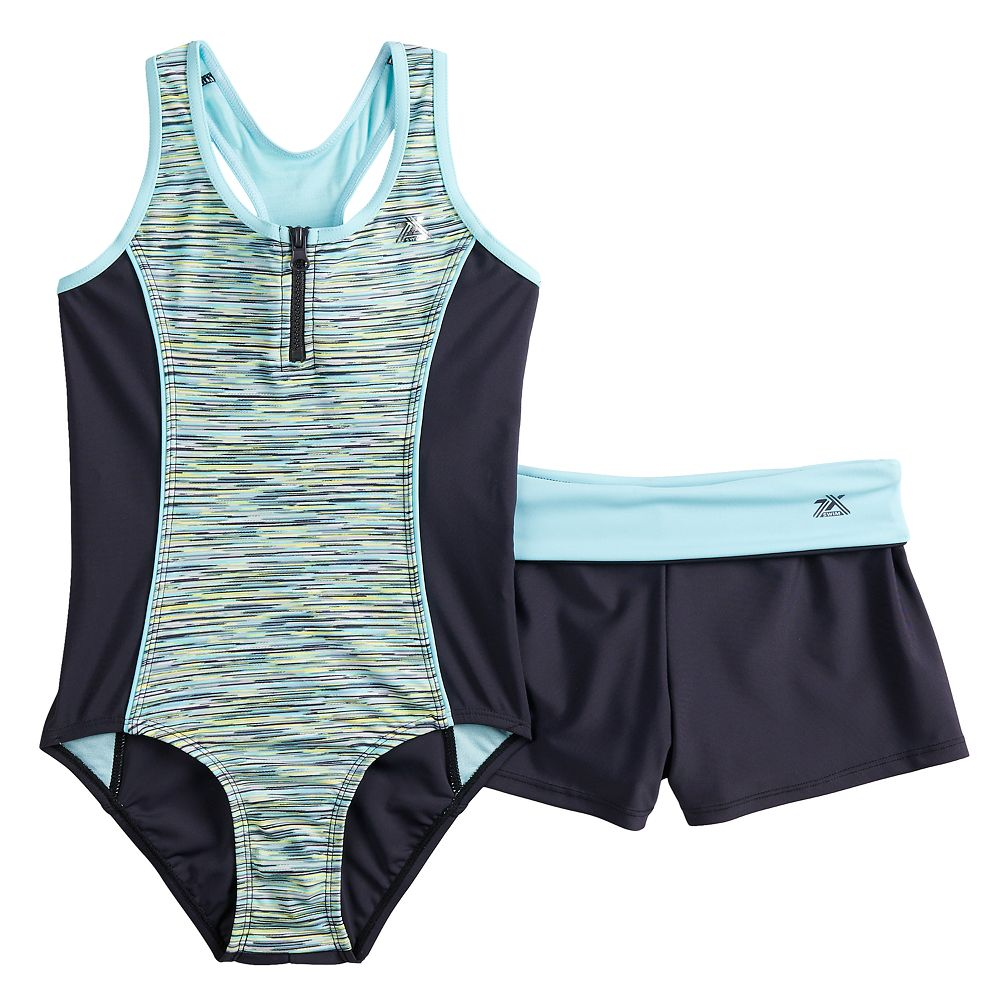 Girls 7-16 ZeroXposur Secret Code One-Piece Swimsuit & Shorts Set