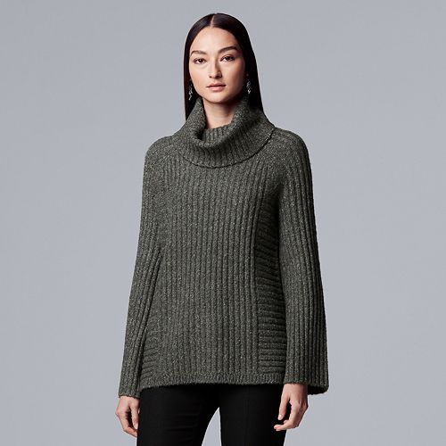 Women's Simply Vera Vera Wang Ribbed Cowlneck Tunic Sweater