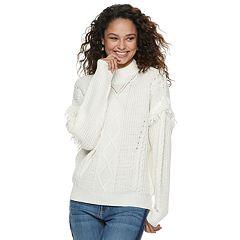 Juniors' American Rag Fringe Mockneck Sweater