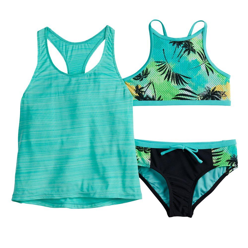 Girls 7-16 ZeroXposur Summer Storm Tank Top, Bikini Top & Bottoms Swimsuit Set