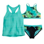 Girls 7-16 ZeroXposur Summer Storm Tank Top, Bikini Top & Bottoms Swimsuit Set