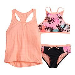 5bd2aead8a0 Girls 7-16 ZeroXposur Summer Storm Tank Top, Bikini Top & Bottoms Swimsuit  Set. Aruba Sorbet. sale