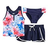 Girls 7-16 & Plus Size Fireworks Tankini Top, Bottoms & Shorts Swimsuit Set
