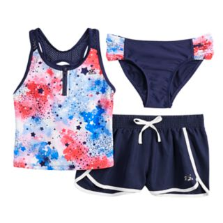 Girls 7-16 & Plus Size Fireworks Tankini Top, Bototms & Shorts Swimsuit Set