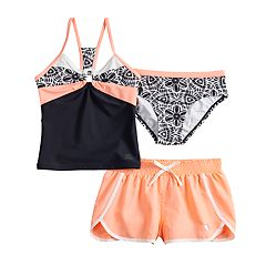 Girls 7-16 & Plus Size Carousel Caper Tankini Top, Bottoms & Shorts Swimsuit Set