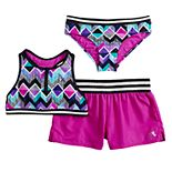 Girls 7-16 ZeroXposur Beatbox Bop Crop Top, Bottoms & Shorts Swimsuit Set