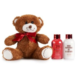 Simple Pleasures Peppermint Swirl Bath & Body & Teddy Bear Set