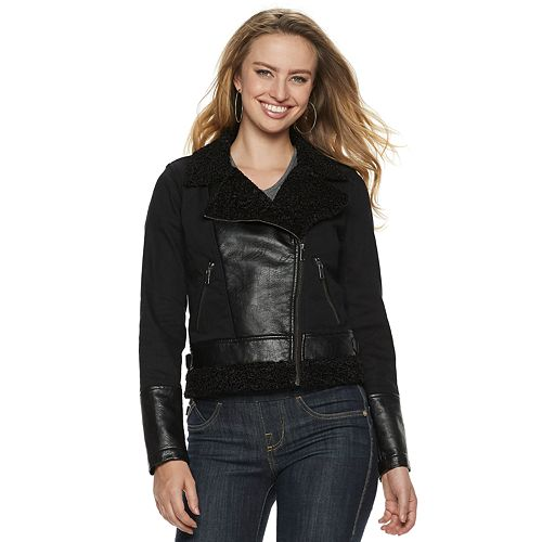 Women's Rock & Republic® Mixed-Media Moto Jacket