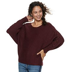 Juniors' American Rag Dolman Lace-Up Sweater