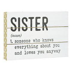 Belle Maison 'Sister' Box Sign Art