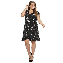 Juniors' Plus Size Candie's Short Sleeve Flutter Wrap Dress