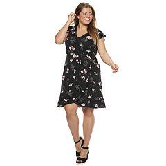 Juniors' Plus Size Candie's Short Sleeve Flutter Wrap Dress