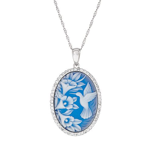 Sterling Silver Blue Hummingbird Cameo Pendant Necklace
