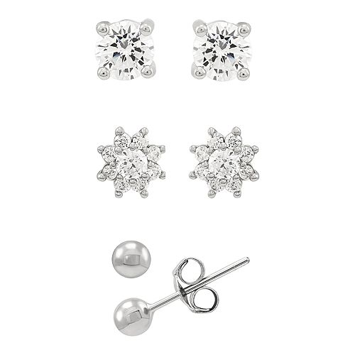 DiamonLuxe Sterling Silver Cubic Zirconia 3-Pair Stud Earring Set
