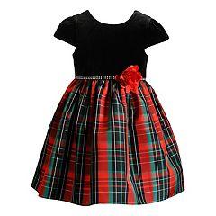 Baby Girl Youngland Plaid Velvet Dress