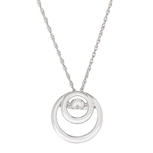 DiamonLuxe Sterling Silver Cubic Zirconia Double Circle Pendant Necklace