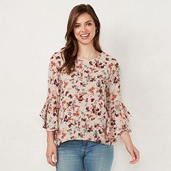 Women's LC Lauren Conrad Ruffle Sleeve Split-Back Top