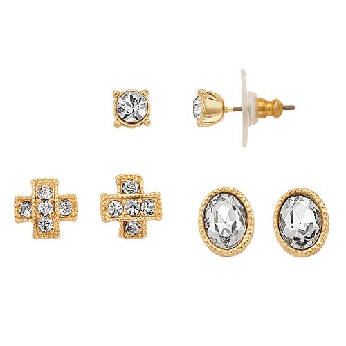 Napier Simulated Crystal Textured Button Stud Earring Set