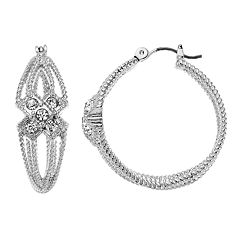 Napier Simulated Crystal Textured Layered Hoop Earrings