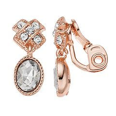 Napier Simulated Crystal Textured Drop Earrings
