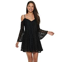 Juniors' Love, Fire Lace Bell Sleeve Cold-Shoulder Dress
