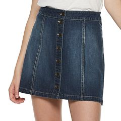 Juniors' Mudd® Button Front Denim Skirt
