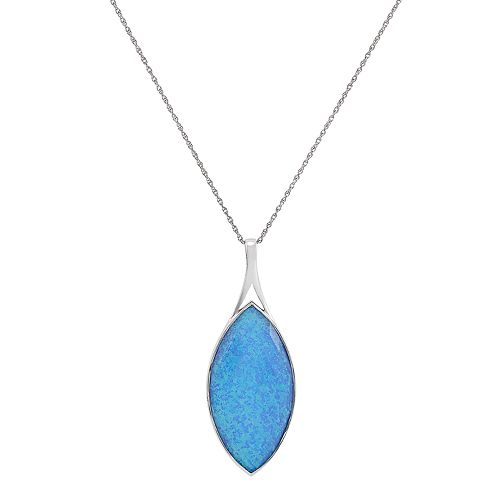 Sajen Sterling Silver Simulated Blue Opal Marquise Pendant Necklace