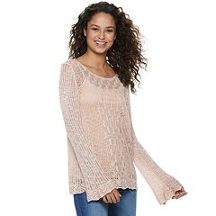 Juniors' American Rag Pointelle Scallop Hem Top