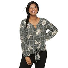 Juniors' Plus Size Liberty Love Tie Front Keyhole Top