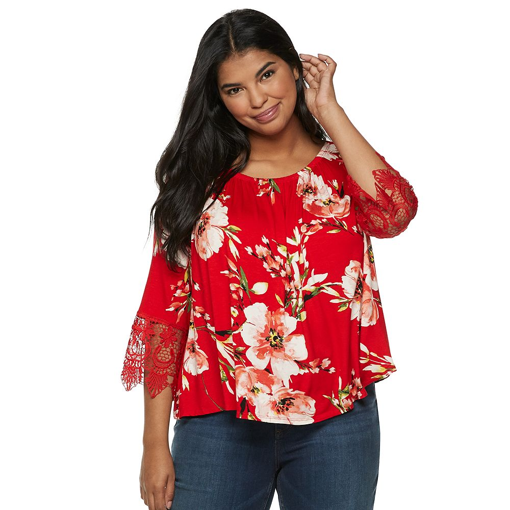 Juniors' Plus Size Liberty Love Lace-Sleeve Top