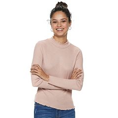 Juniors' American Rag Lettuce-Edge Turtleneck Top