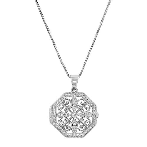 Everlasting Gold Sterling Silver Cubic Zirconia Filigree Locket