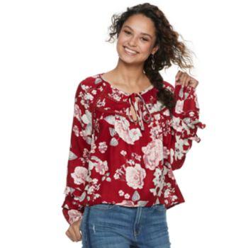 Juniors' American Rag Raglan Ruffled Sleeve Blouse