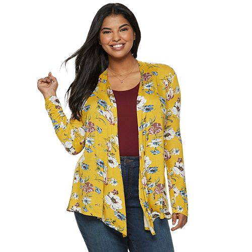 Juniors' Plus Size Liberty Love Floral Long Sleeve Kimono