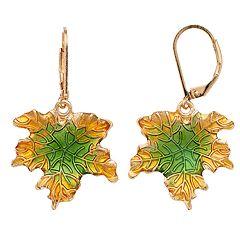 Gold Tone Nickel Free Textured Leaf Drop Earrings