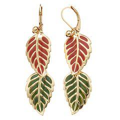 Gold Tone Nickel Free Double Leaf Drop Earrings