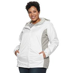 db5d9a03f5bec Plus Size Columbia Arcadia II Hooded Packable Jacket. White Cap Black  Columbia Navy White Flint Gray