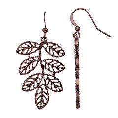Brown Nickel Free Leaf Drop Earrings