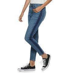 Juniors' American Rag Stripe High-Waisted Super Skinny Jeans