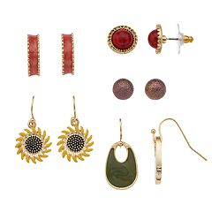 Colorful Nickel Free Sunflower Drop & Stud Earring Set