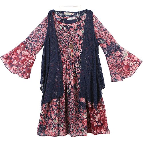 Girls 7-16 & Plus Size Speechless Lace Vest & Printed Bell Sleeve Dress Set with Necklace