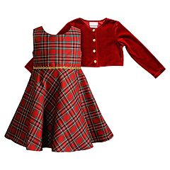 Toddler Girl Youngland Plaid Taffeta Dress & Velvet Shrug Set
