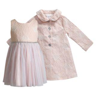 Toddler Girl Youngland Jacquard Floral Tulle Dress & Coat Set