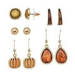 Gold Tone Nickel Free Pumpkin Drop & Stud Earring Set