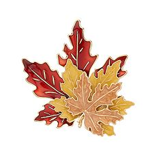 Gold Tone Layered Leaf Pin