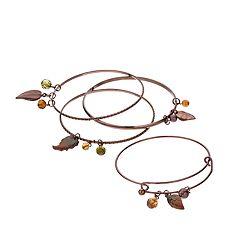 Leaf Charm Bangle Adjustable Bracelet Set